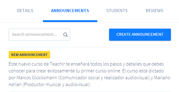 create announcements